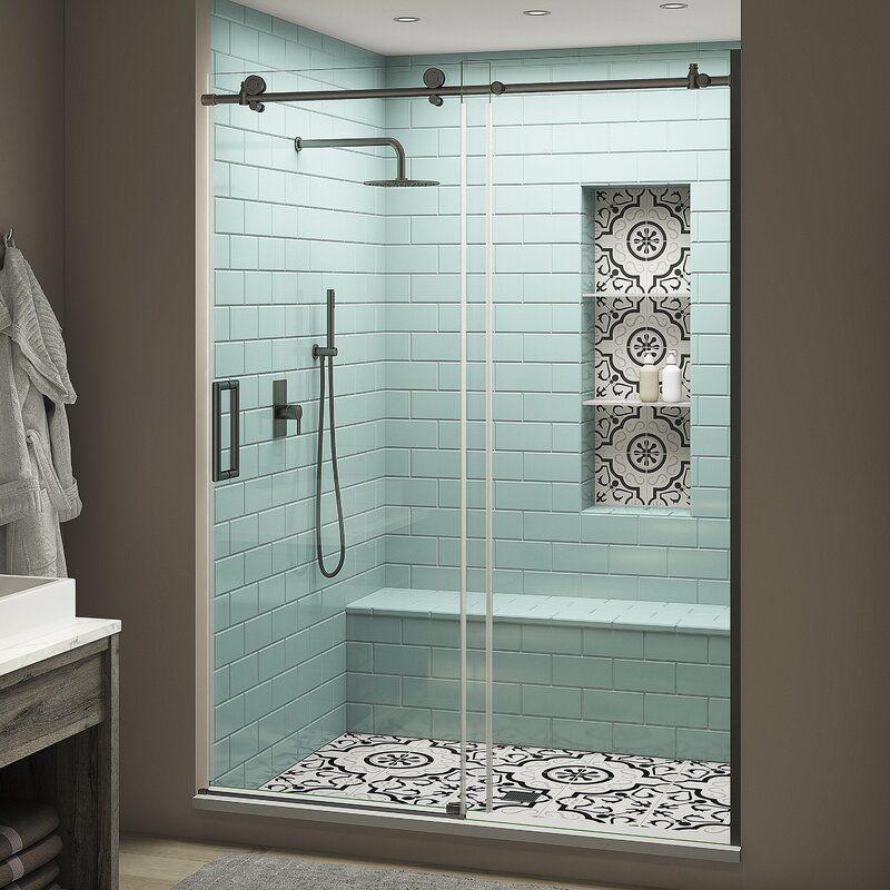 Coraline Xl44 W X 80 H Single Sliding Frameless Shower Door In 2020 Frameless Shower Doors Shower Doors Bypass Sliding Shower Doors