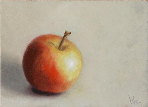 Pomme Bicolore Peinture A L Huile Pomme Peinture Oiseau