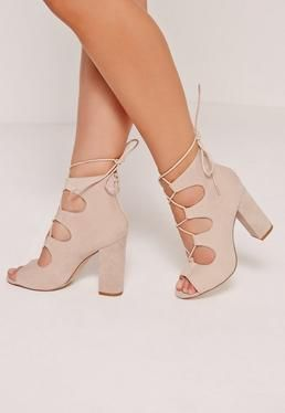 a9ee8956a01 Lace Up Peep Toe Block Heel Nude