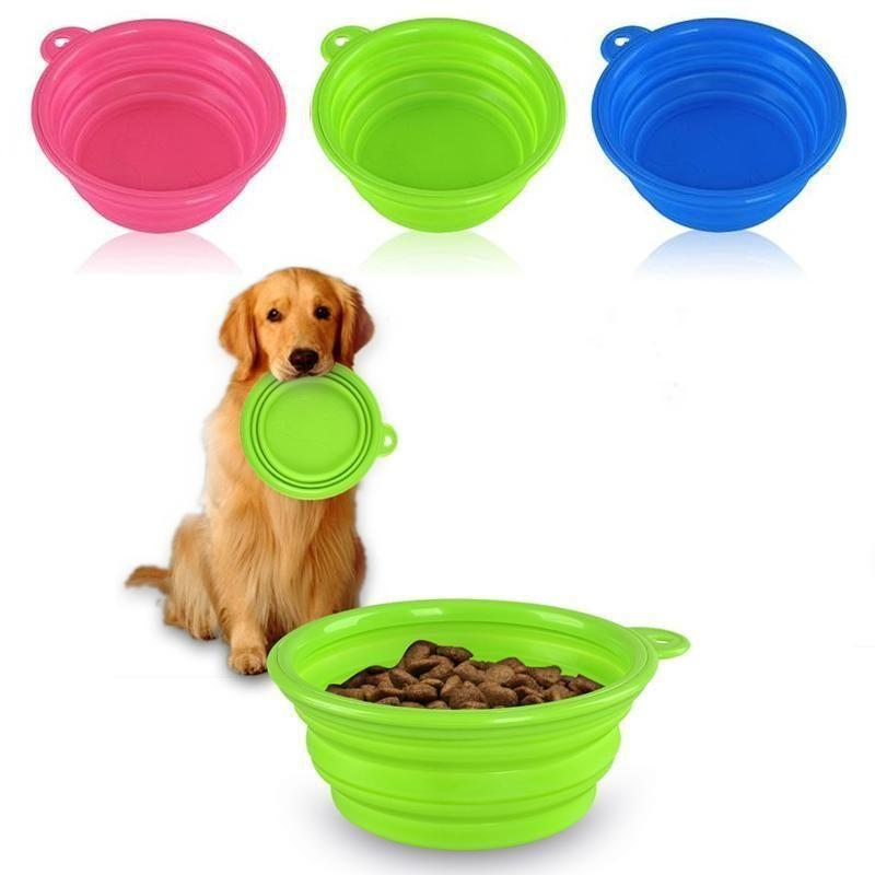1 89 Cute Pet Dog Cat Silicone Collapsible Travel Bowl Dish