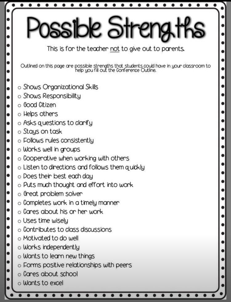 Student strengths for grading, conferences, etc. | Parents
