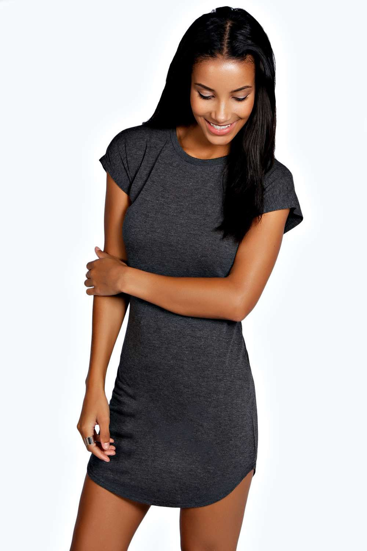 5ffbd08e5114 Taylor Curved Hem Roll Sleeve TShirt Dress alternative image