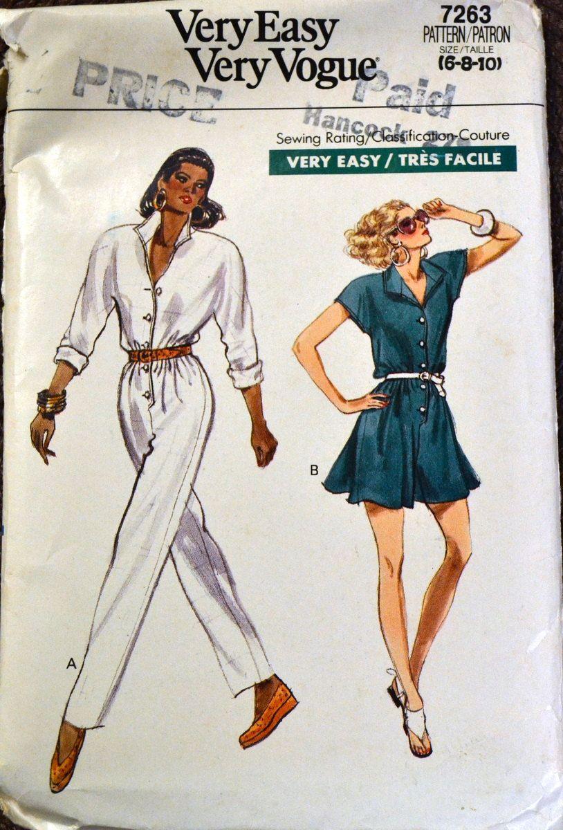 Vintage Sewing Pattern Vogue 7263 Misses\' Jumpsuit Bust 30-32 inches ...
