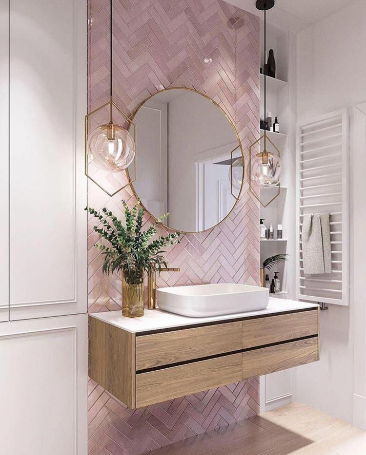 On Trend Pink Subway Tiles Love The Variation In Colour Great Shade Of Pink Bathroomwallpaper Pink Bathroom Tiles Bathroom Interior Design House Interior