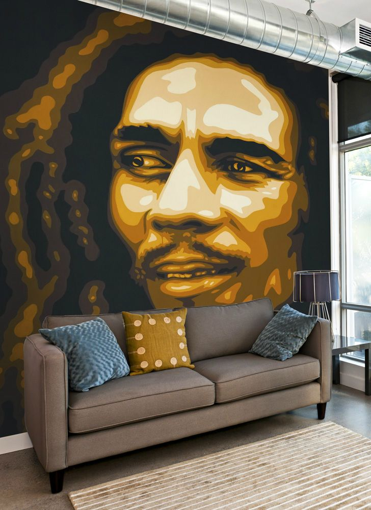 this bob marley wall mural is applied just like wallpaper and willthis bob marley wall mural is applied just like wallpaper and will transform any living room, bedroom or even office for any bob marley fan