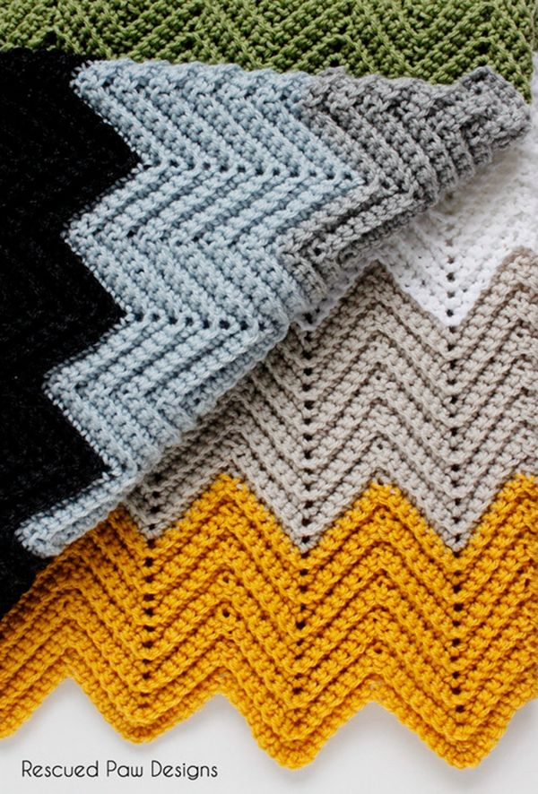 Free Pattern Crochet Chevron Blanket Easy Fast Pattern