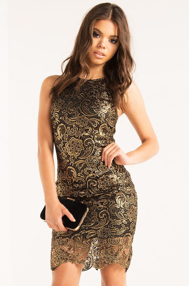 Akira high halter neck embroidered overlay mini dress in gold black
