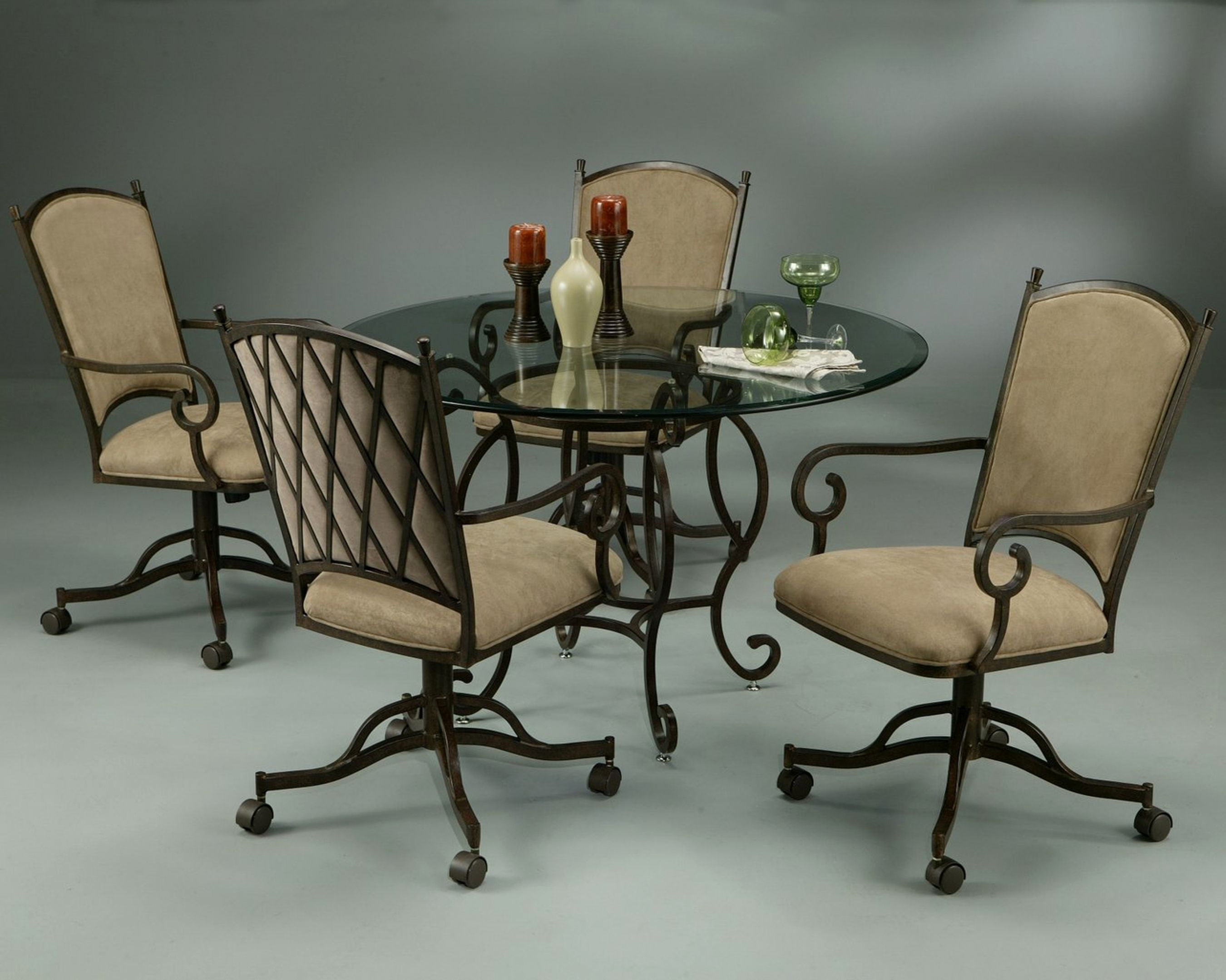 Dining Chairs With Casters Swivel Enter Home | Caster Chairs ...