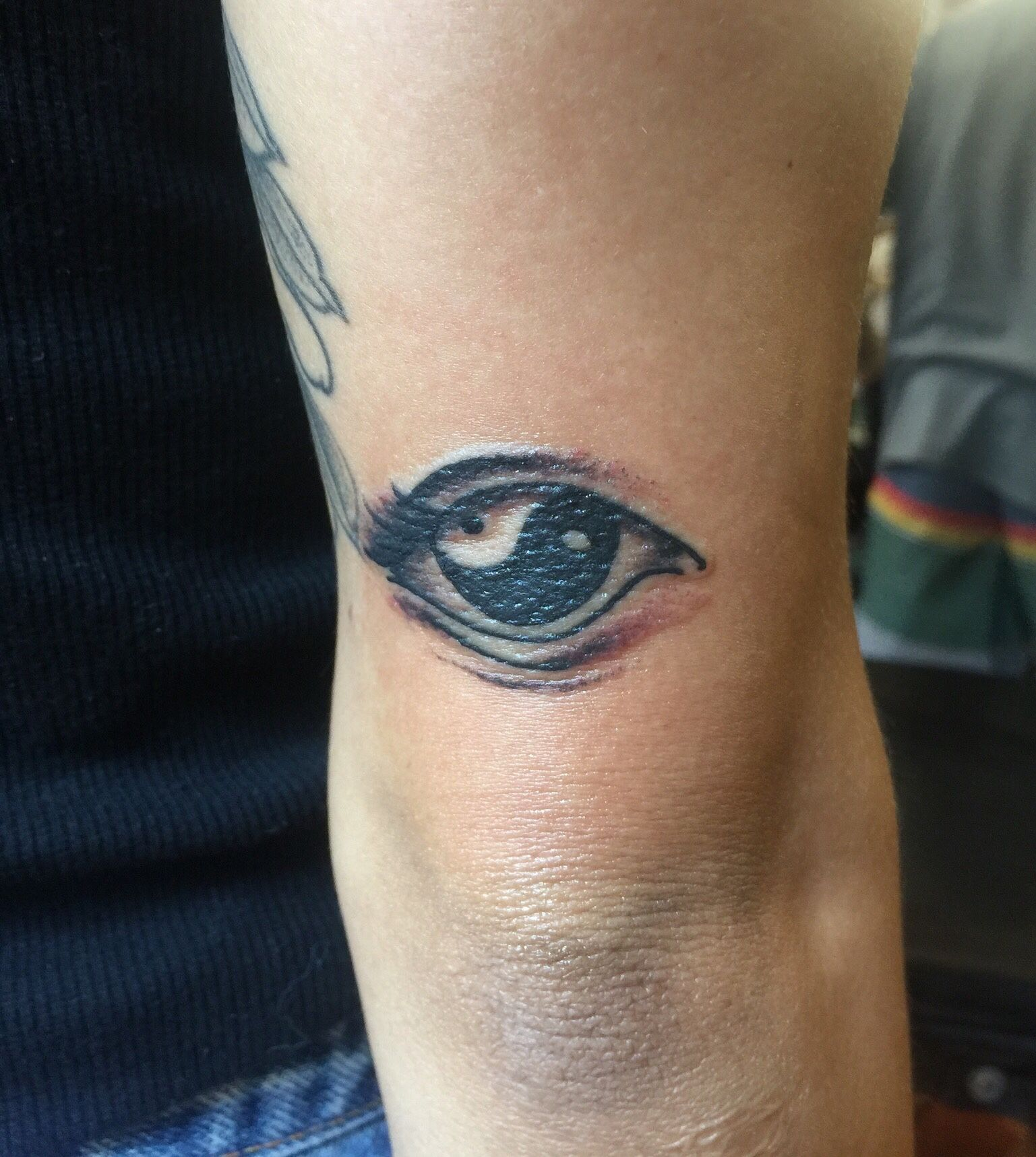 Yin yang eye tattoo made by Jef Wright!