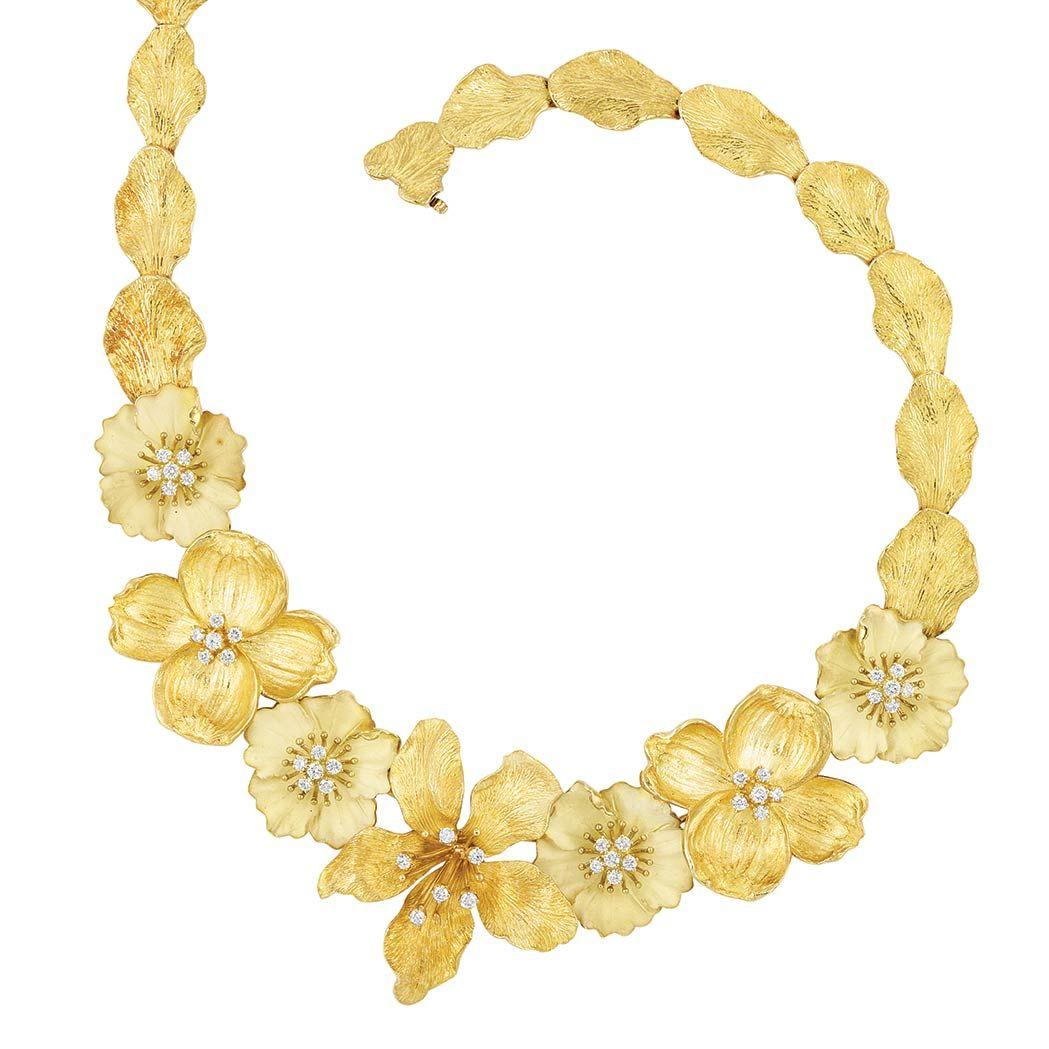 Gold And Diamond Dogwood Flower Necklace Tiffany Co Tiffany