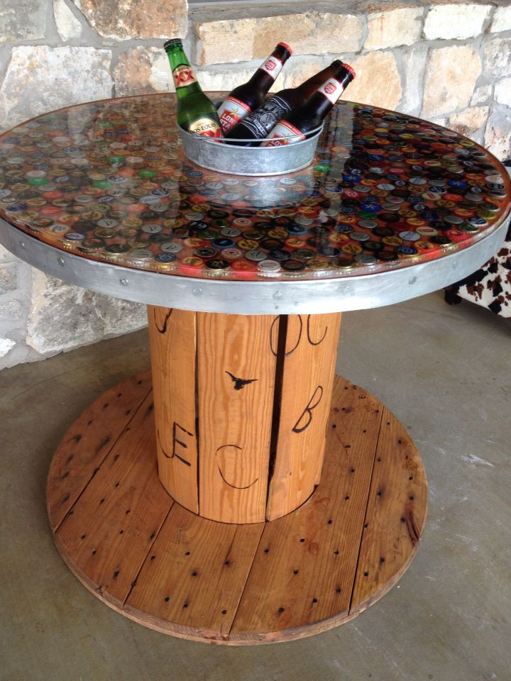 Fantastic Beer Bottle Cap Table Spools Bottle Cap Table Diy Alphanode Cool Chair Designs And Ideas Alphanodeonline
