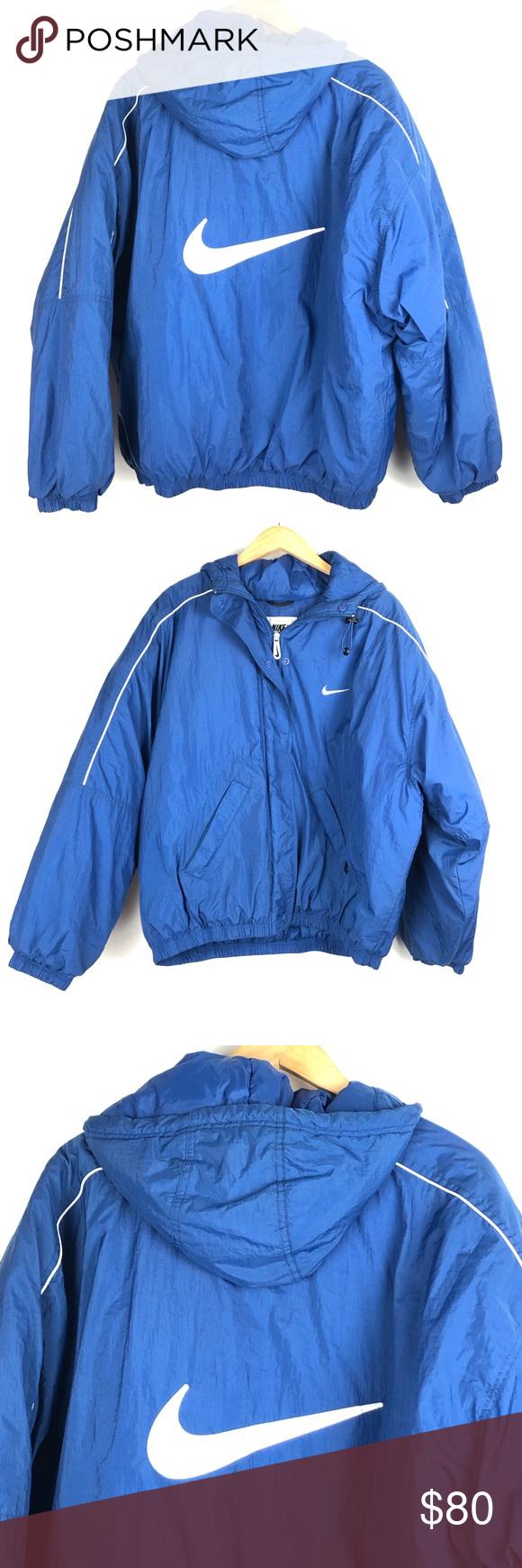 Vintage Nike Jacket Xl Blue Big Swoosh Zip Up 0803 Vintage Nike Jacket Vintage Nike Nike Jacket