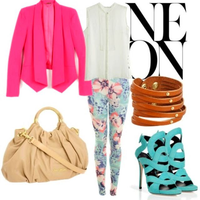 Pink and mint colors are gorgeous for summer time or spring! Floral leggings/pink Jacket/mint shoes