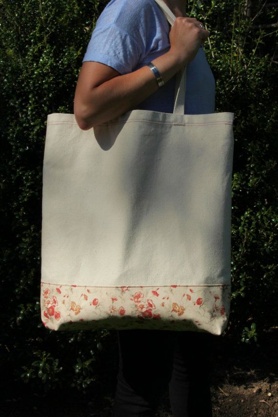 oversized floral trim canvas tote bag by staggdroppings on Etsy, $28.00