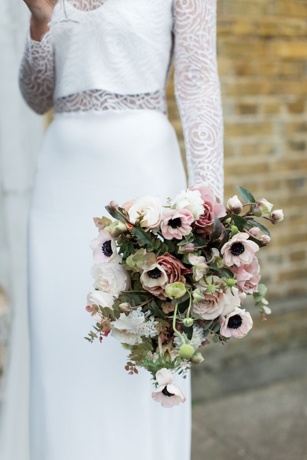 Pale Pink Dusty Rose And Ivory Bouquet With Anemones Roses Ranunculus Scabiosa Hellebores Flower Bouquet Wedding Wedding Bouquets Anemone Bridal Bouquet