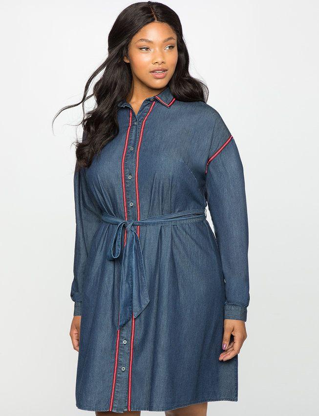 Dolman Sleeve Chambray Shirt Dress Womens Plus Size Dresses