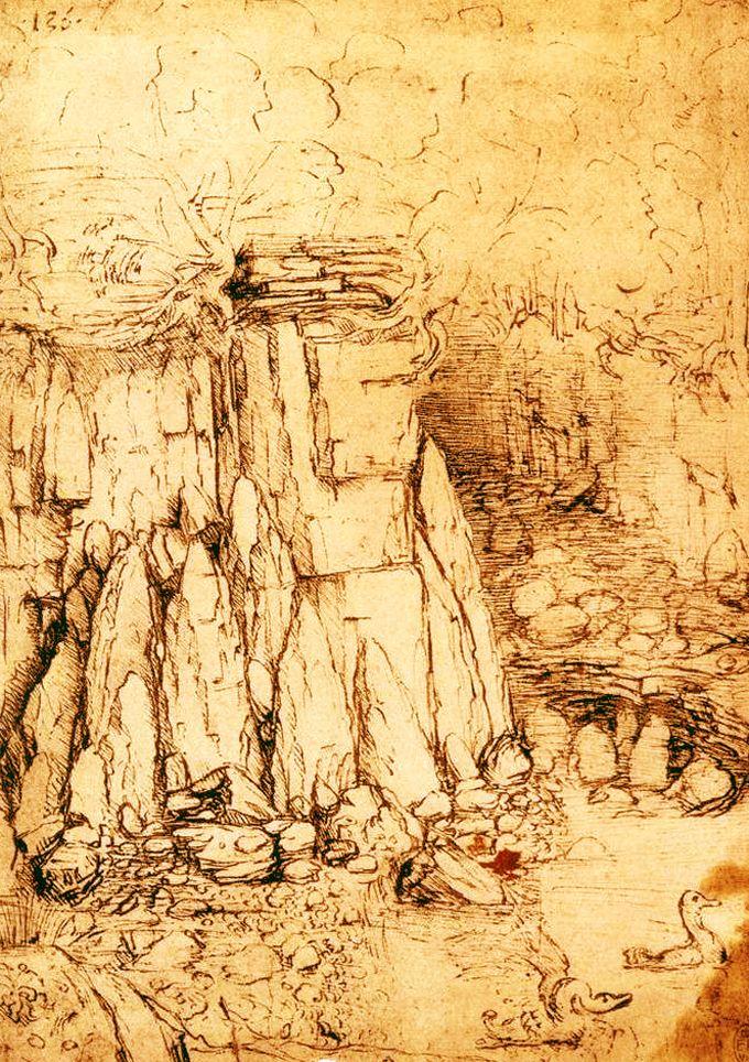 Landscape Of Cavern By Leonardo Da Vinci 1482 1485 Renacimiento