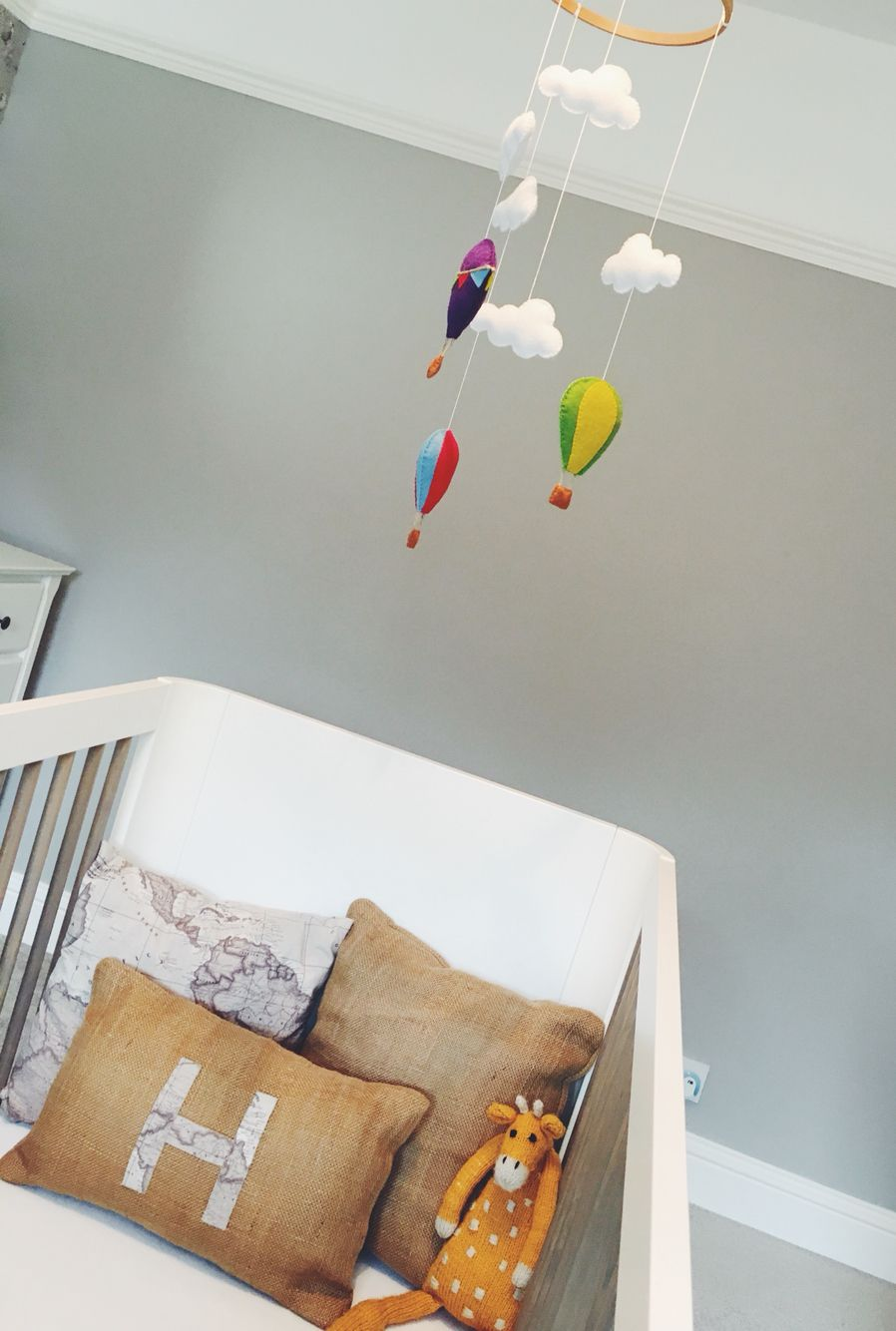 Hot air balloon mobile made by No.87, ideal for nursery or