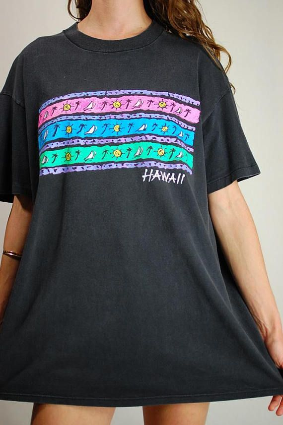Neon Hawaii Tee Vintage 80s 90s Oversized Distressed Faded Chic Shirts Preppy Shirt Vintage Tees