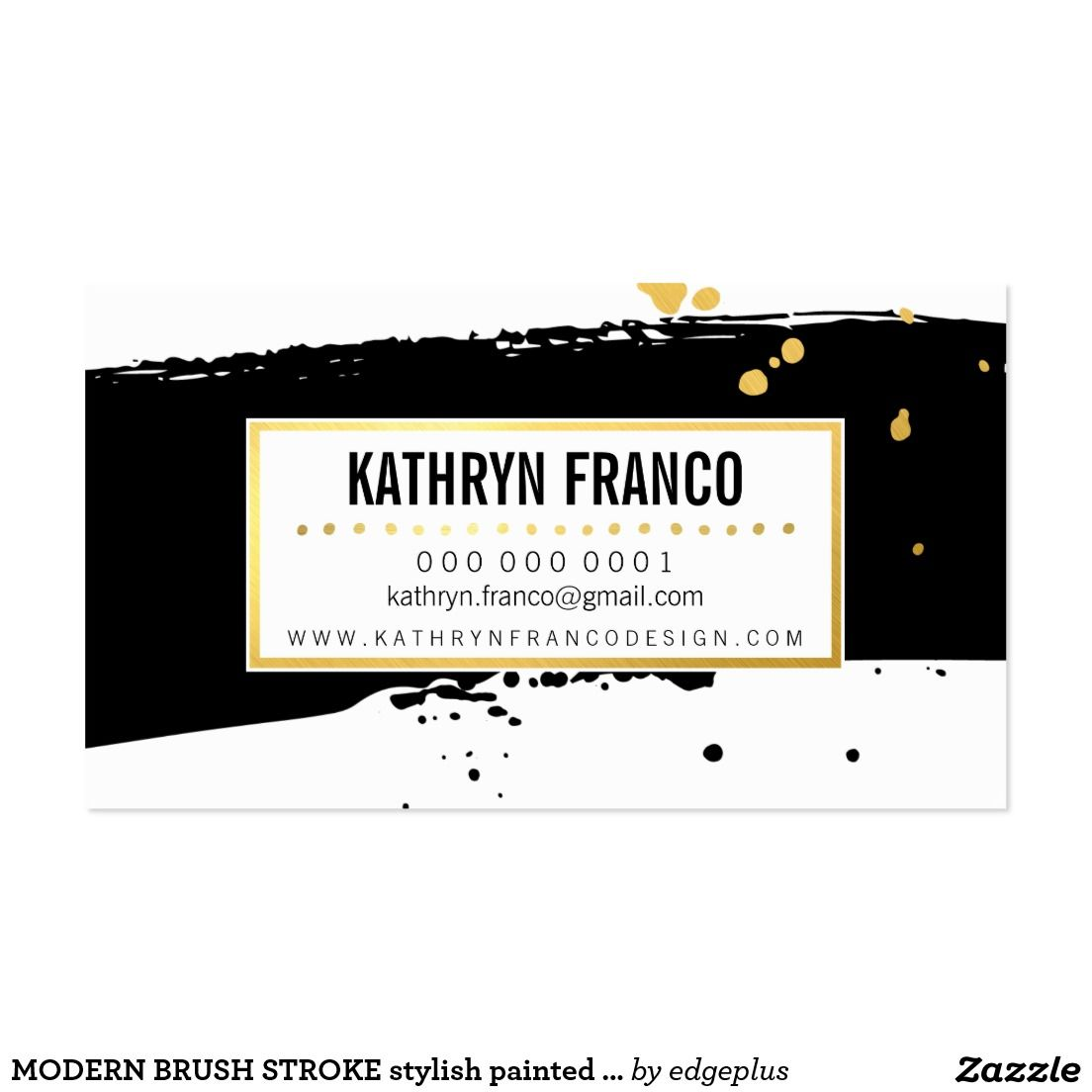 Modern brush stroke stylish painted faux gold foil splash black modern brush stroke stylish painted faux gold foil splash black business card setup as a magicingreecefo Images