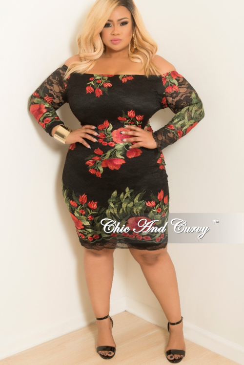 9d62d10bb85 Final Sale Plus Size Off the Shoulder Lace Dress with Back Zipper in Black  Red and Green Floral Print