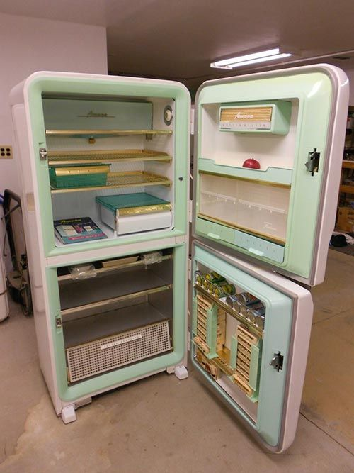 This 1956 Amana refrigerator has never been used and is in