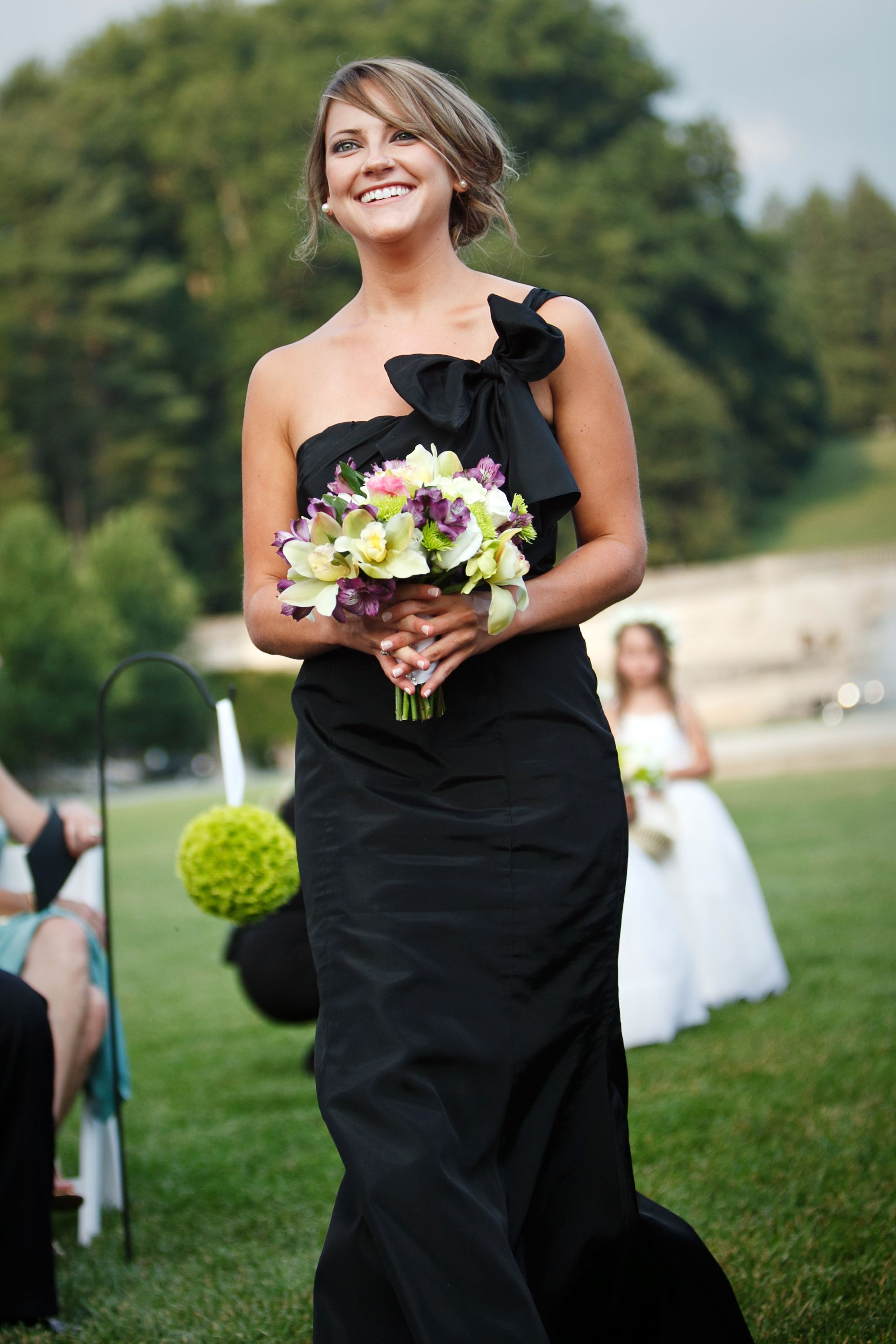 Black bridesmaid dress green and purple flowers bouquet black bridesmaid dress green and purple flowers bouquet wedding florals outdoor ceremony ombrellifo Images