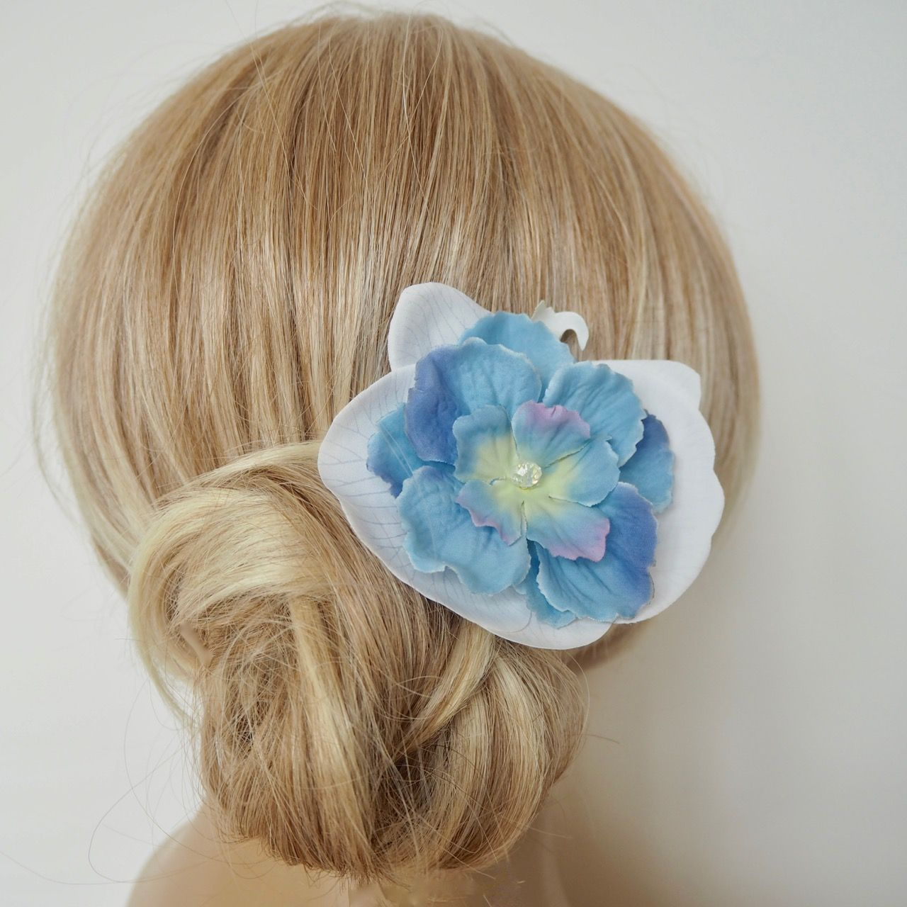 White Silk Orchid Flower Blue Crystal Bridal Hair Accessory Crystal Bridal Hair Accessories Silk Orchids Orchid Flower