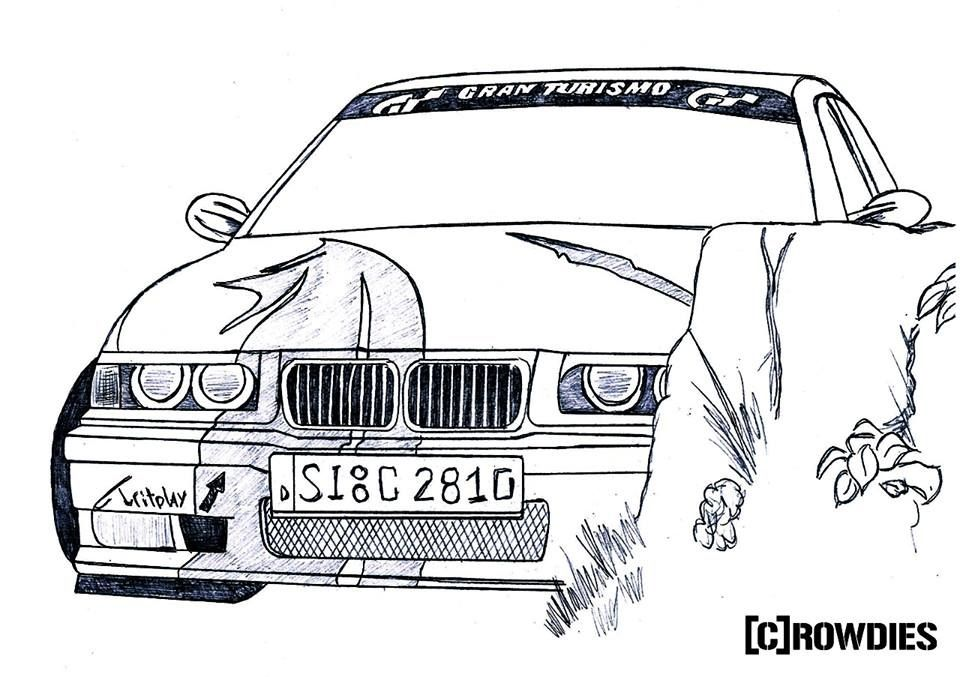 Bmw E36 Drawing Zeichnung Diogo Kunst Pinterest Bmw