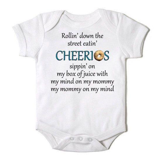 9c4b328b3e2e Rollin Down the Street Eating Cheerios Funny Baby Boy   Girl Onesie ...