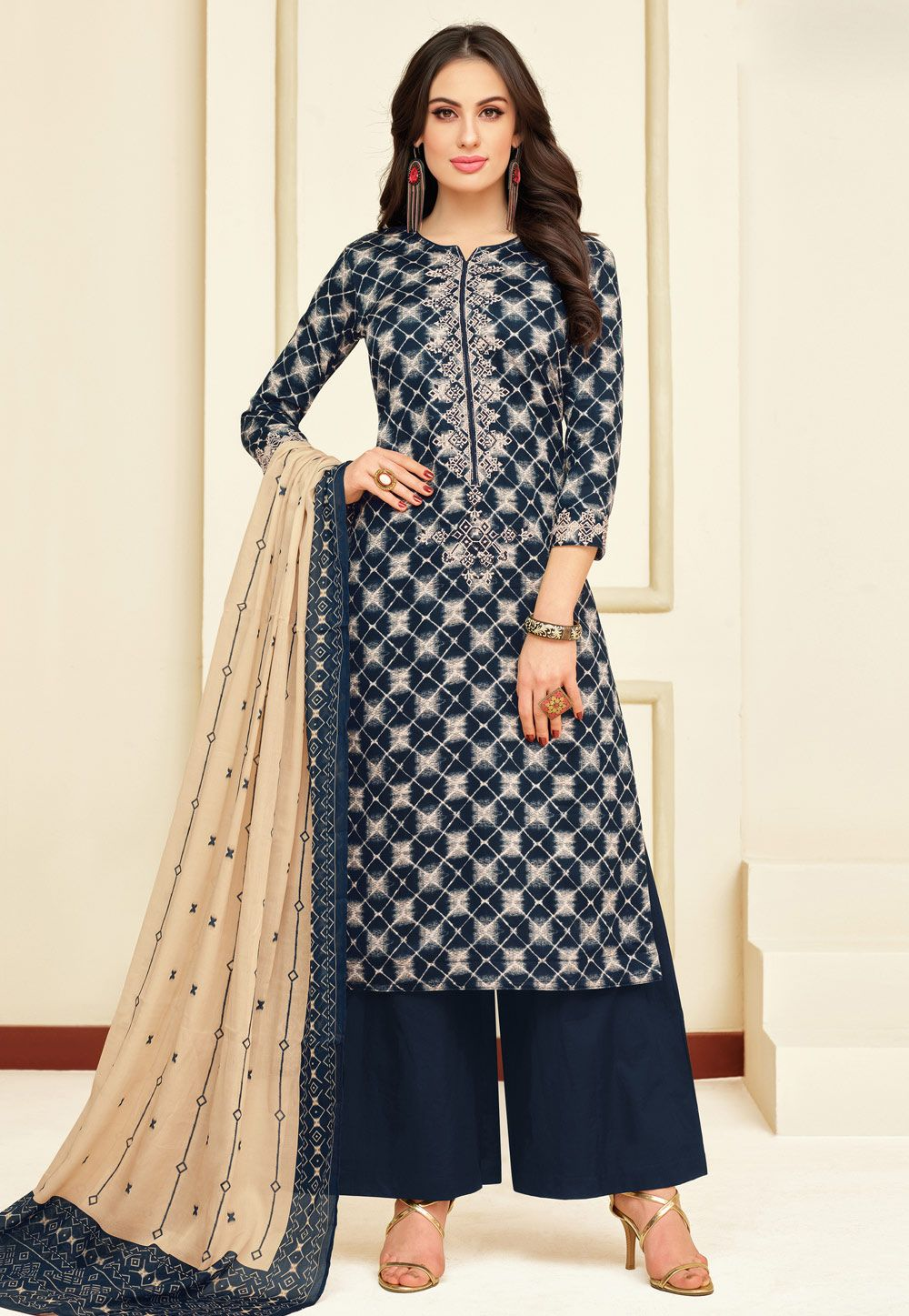 2af03f67ca Buy Navy Blue Chanderi Kameez With Palazzo 154841 online at lowest price  from huge collection of salwar kameez at Indianclothstore.com.