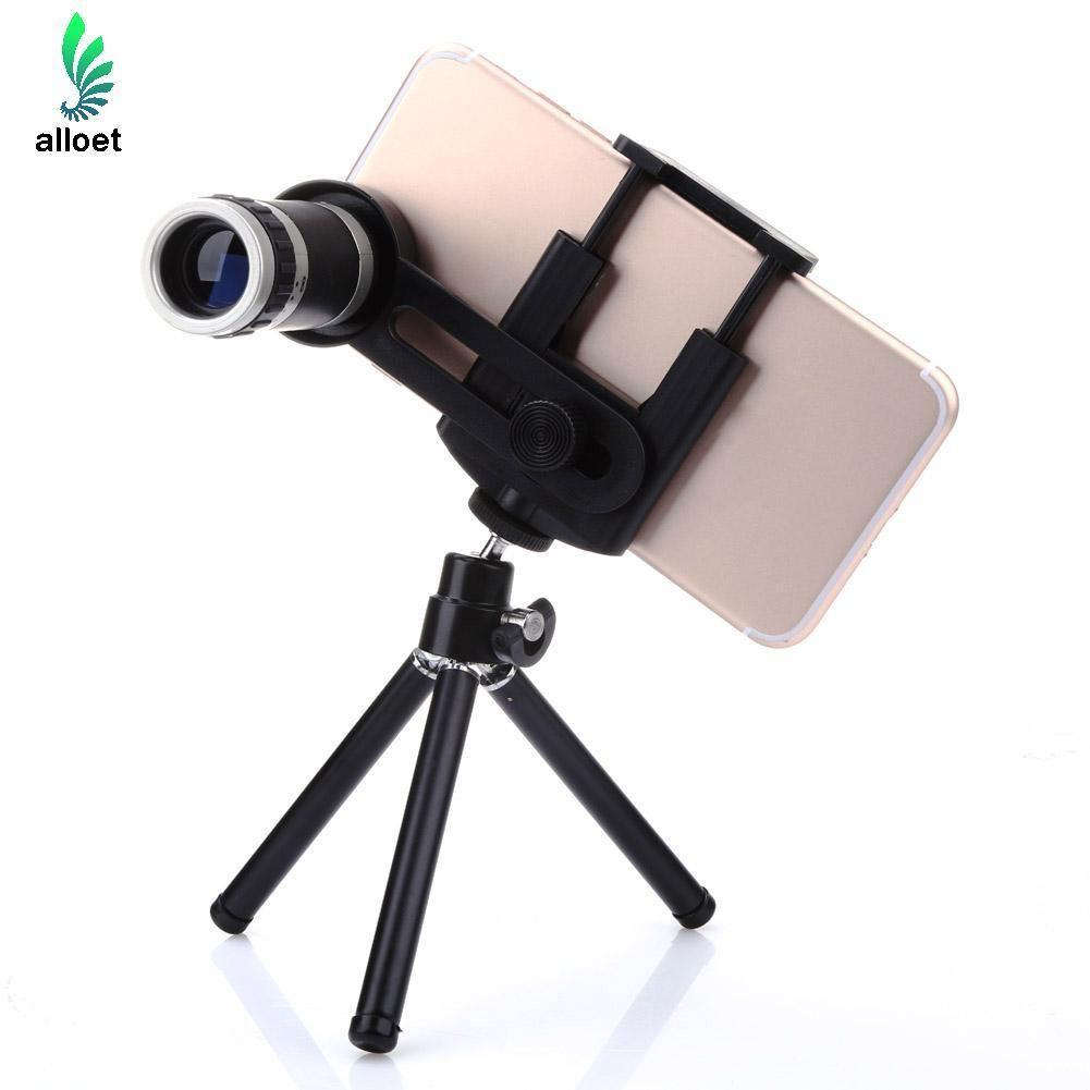 8x Zoom Telescope Camera Lens + Mobile Phone Mount Tripod