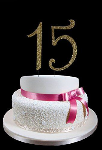 Large Gold 15th Birthday  Wedding Anniversary Number Mis Quince Cake Topper with Sparkling Rhinestone Crystals  4 12 Tall  Cake Decoration Jewelry *** Check out the image by visiting the link.