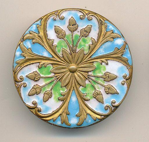 ANTIQUE ENAMEL BUTTON - ACORNS - LG - BLUE, GREEN AND WHITE ENAMEL ACORNS