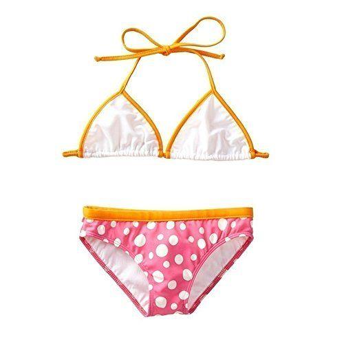 152d317fd5c25 Azul Swimwear Azul Big Girls Orange Pink Triangle Dippin  Dots 2 Pc Bikini  Swimsuit 7