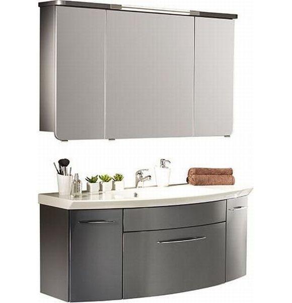 Trendiges Badezimmer Bestehend Aus Einem Waschtischunterschrank Inklusive Waschbecken Aus Mineral Badezimmer Spiegelschrank Beleuchtung Waschtischunterschrank