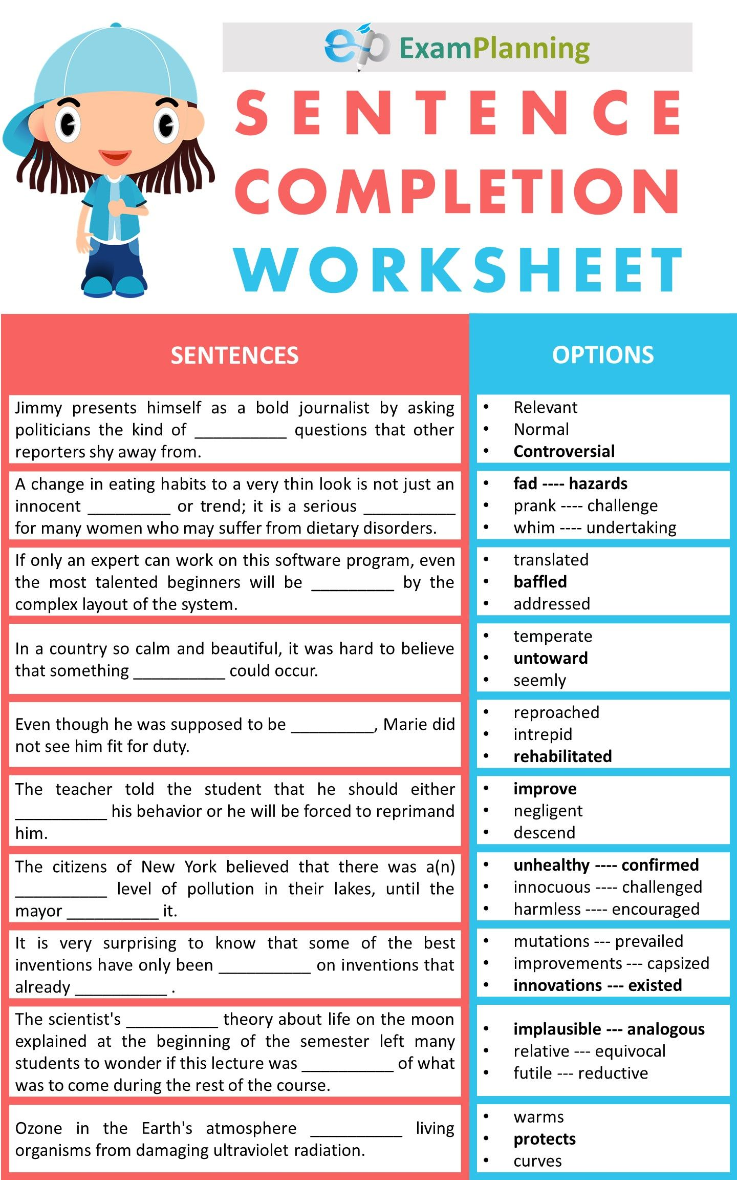 Sentence Completion Worksheets Sentences Learn English Words English Grammar Exercises [ 2304 x 1440 Pixel ]