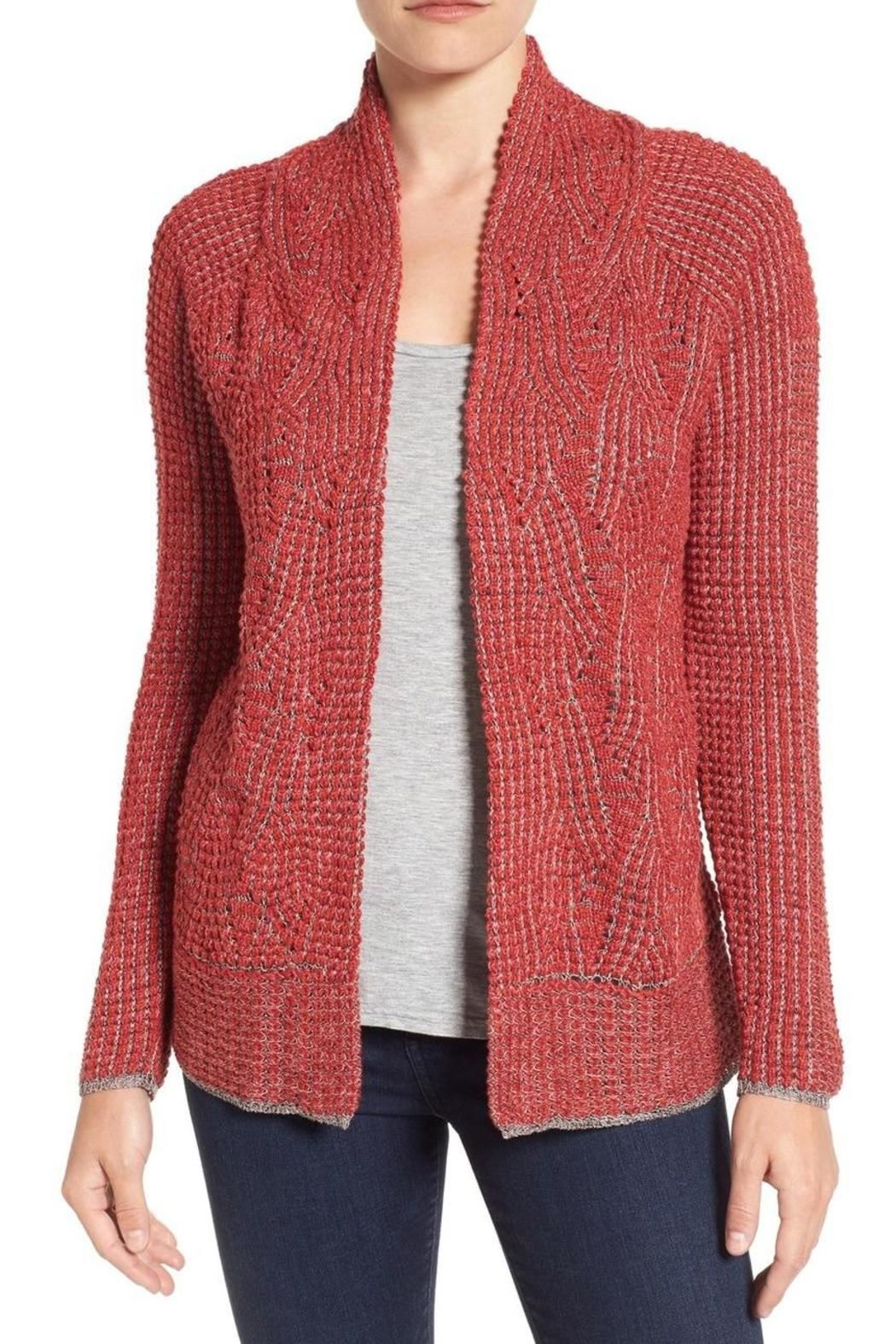 A swirling nubby knit outlined with contrast stitches brings a rich textural twist to an open-front cardigan styled with smooth-fitting raglan sleeves. Red with grey stitching. Pair with shell and slim pants.   Mixed Stitch Cardigan by Nic + Zoe. Clothing - Sweaters - Cardigans Canada