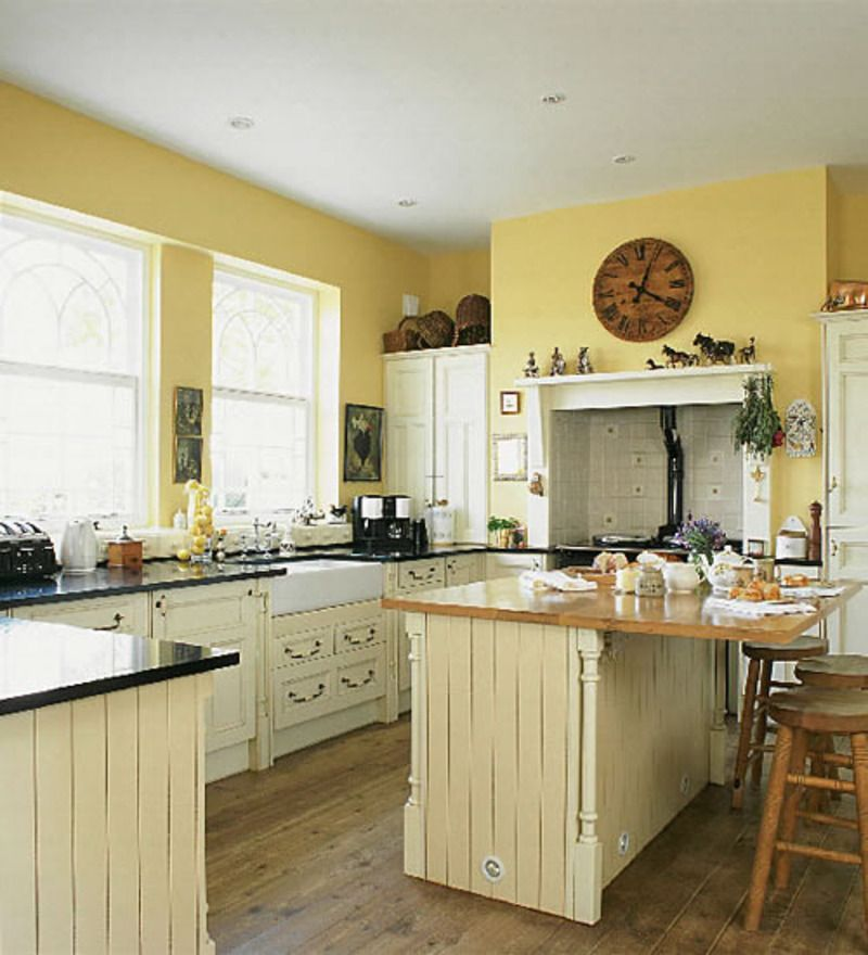 Small Kitchen Ideas Yellow Wall Color Scheme With Glass Kitchen ...