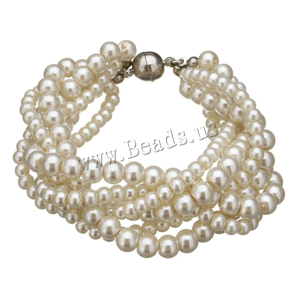 Cristal pulsera de perlas, Perlas de vidrio, aleación de cinc cierre magnético, chapado en color de platina, 25x8mm, 13x14x6mm, longitud:aproximado 7 Inch, 10Strandsfilamento/Grupo, Vendido por Grupo,Abalorios de joyería por mayor de China