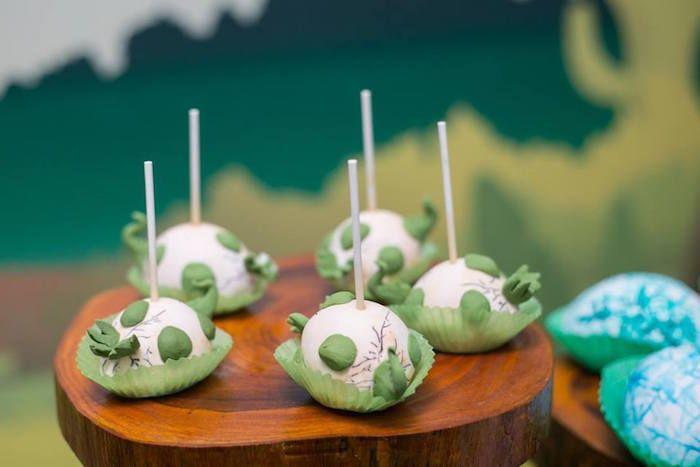Egg cake pops from Prehistoric Dinosaur Birthday Party at Karas