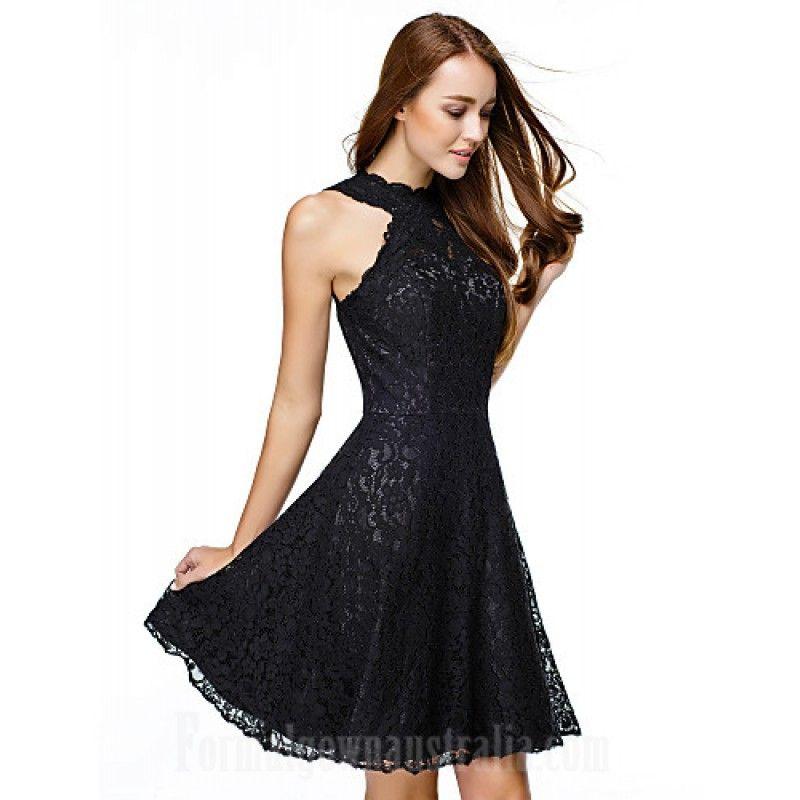Australia Cocktail Party Dress Black A-line Jewel Short Knee ...