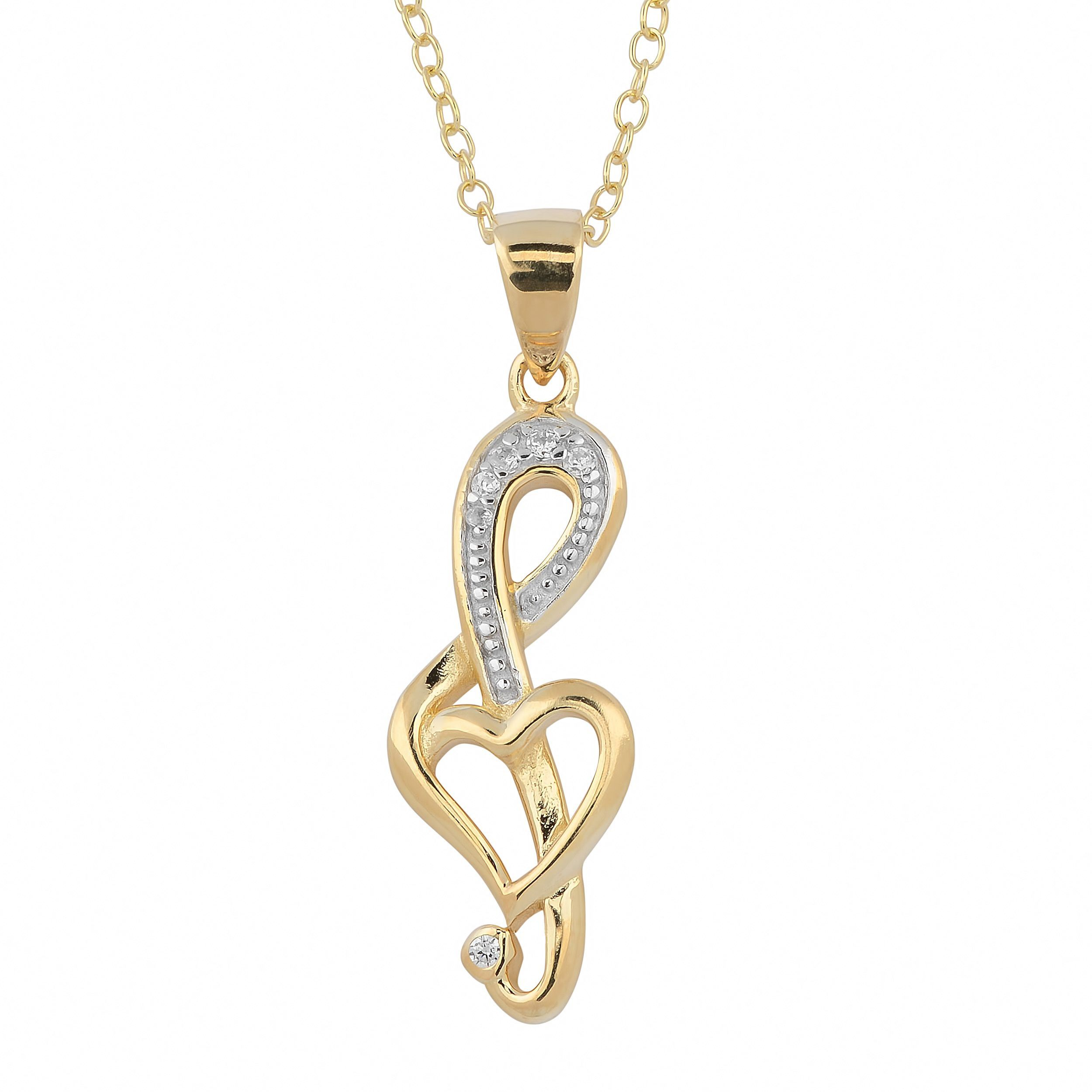 Fremada Gold Over Sterling Silver and Cubic Zirconia G-clef Necklace