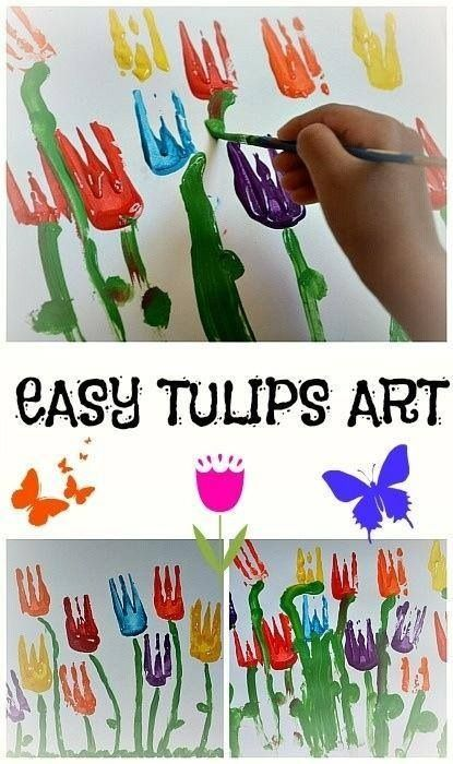 Spring Tulip Fork Painting Craft