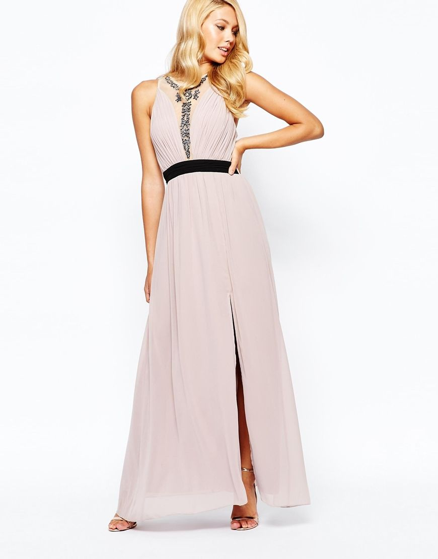 Little mistress high neck embellished maxi dress with contrast