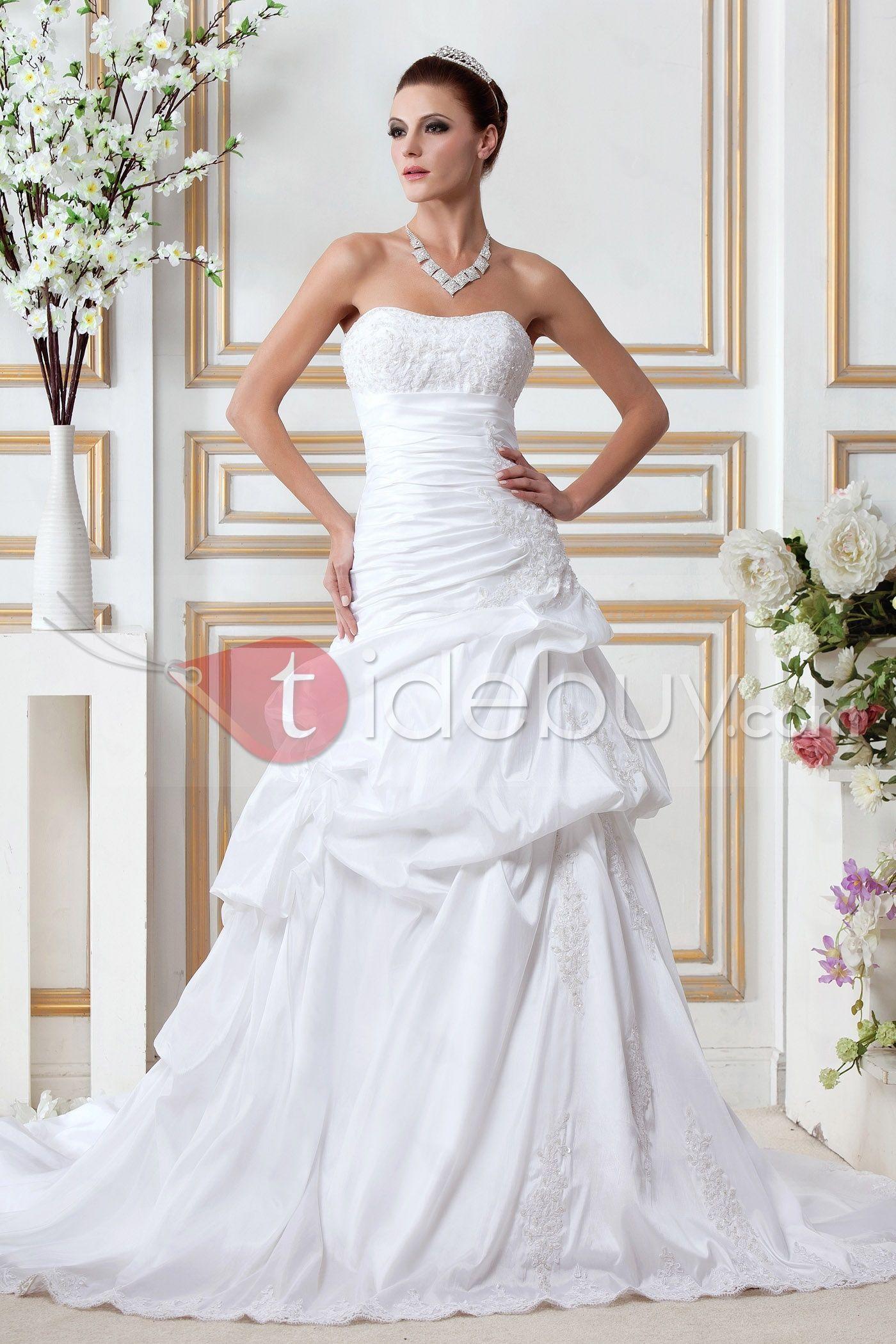 Stunning A Line Strapless Appliques Chapel Train Gerogias Wedding Dress Tidebuy