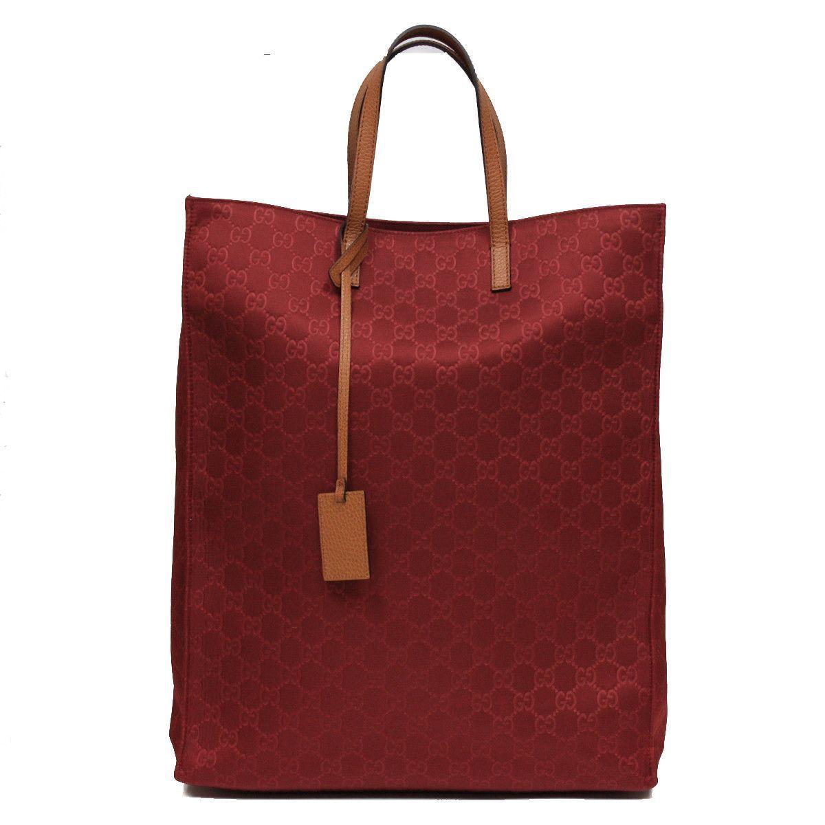 a66b659ae76448 Gucci Burgundy Red Nylon and Leather Travel Tote Beach Bag 355730 ...
