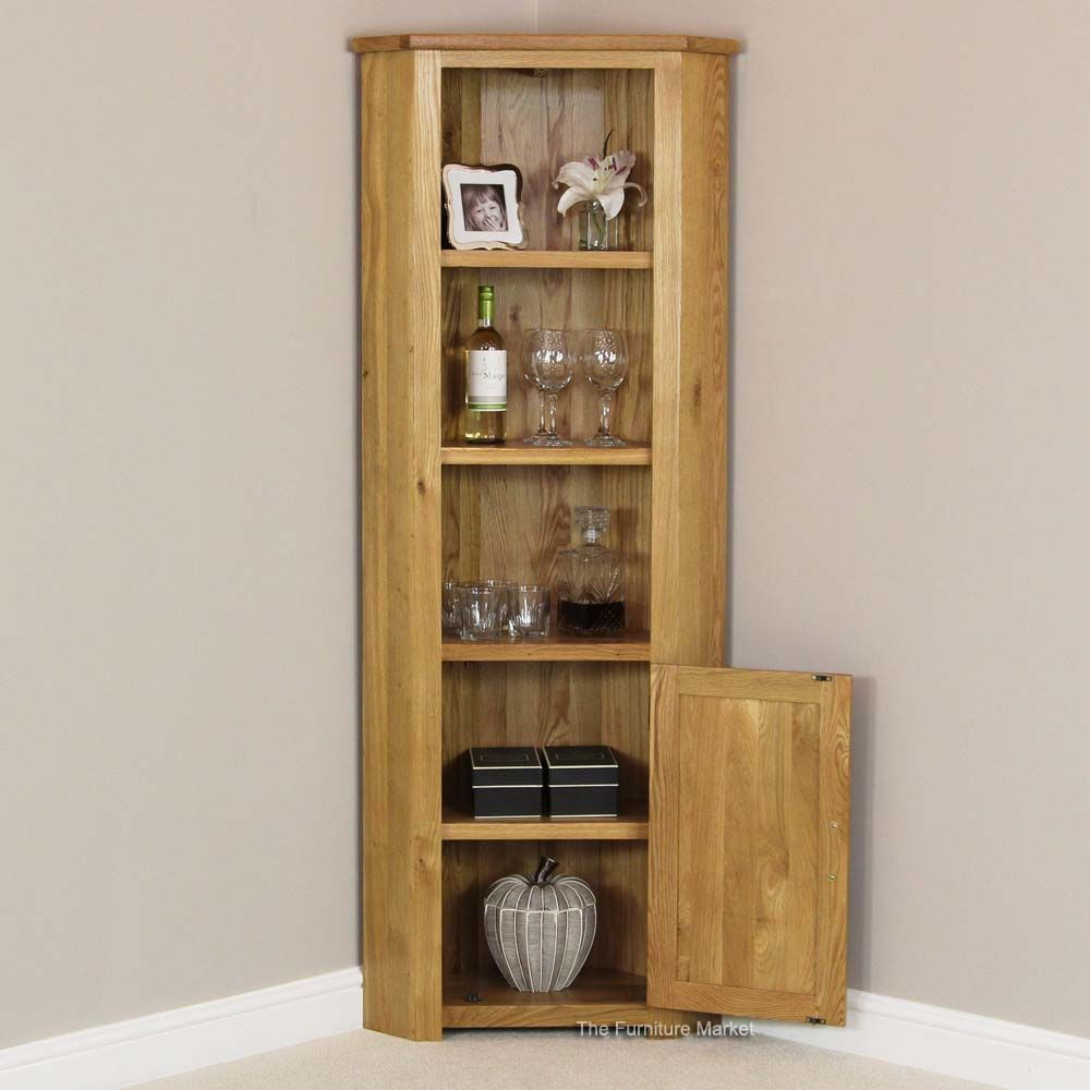 Tall Corner Cabinet | London Solid Oak Tall Corner Display Cabinet ...