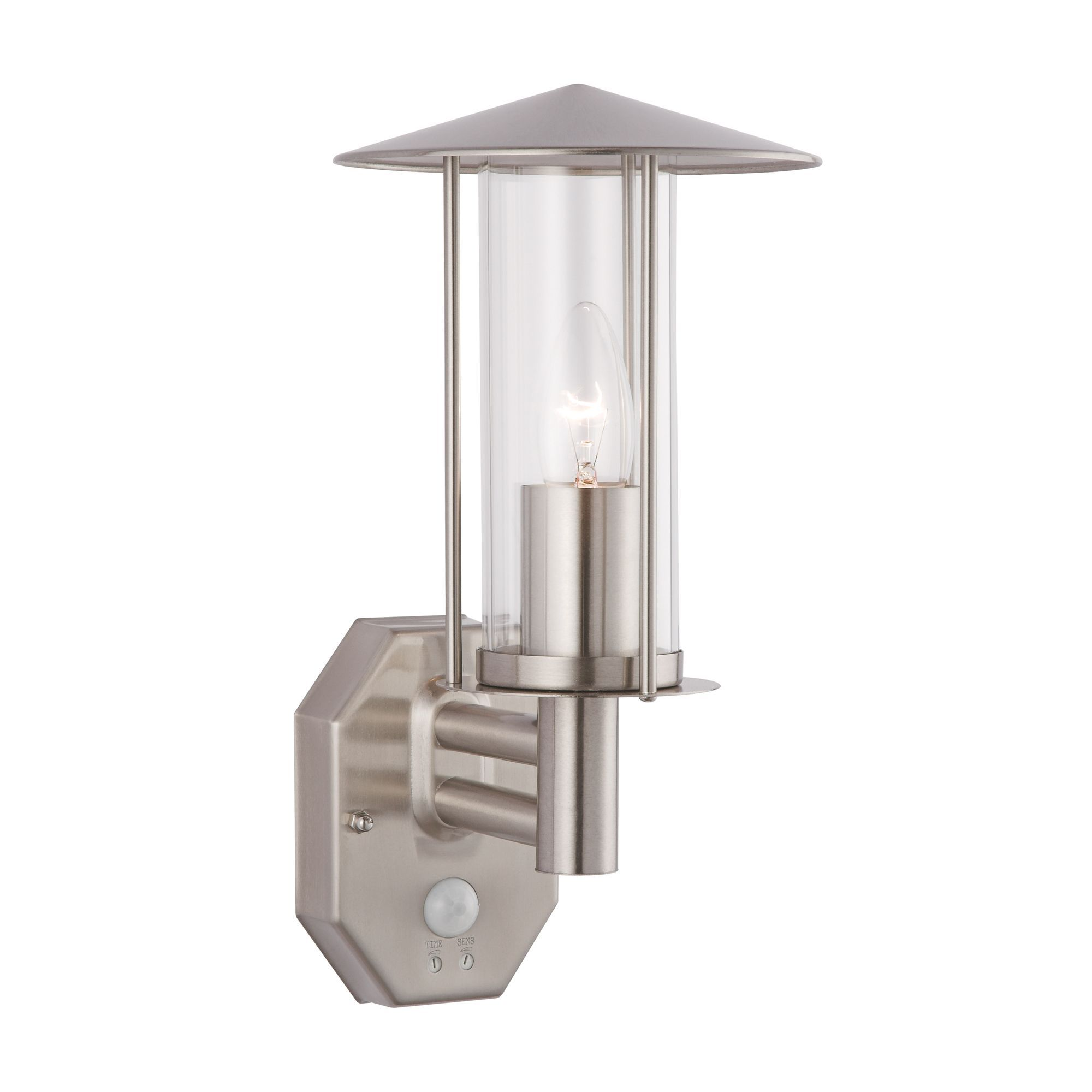 Trieste Stainless Steel Black 60w Mains Powered External Pir Lantern Wickes Wiring Instructions Departments Diy At Bq