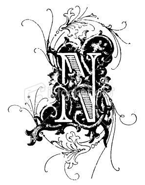 Typographic Decoration Letter N Lettering Alphabet Fancy Fonts Decorative Letters